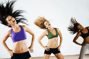 Women doing aerobic dancing