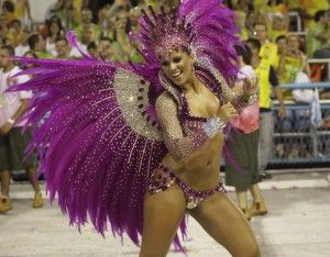 Drum Queen of the Mangueira samba school, Renata Santos, participates in the second night of the Carnival parade in Rio de Janeiro's Sambadrome